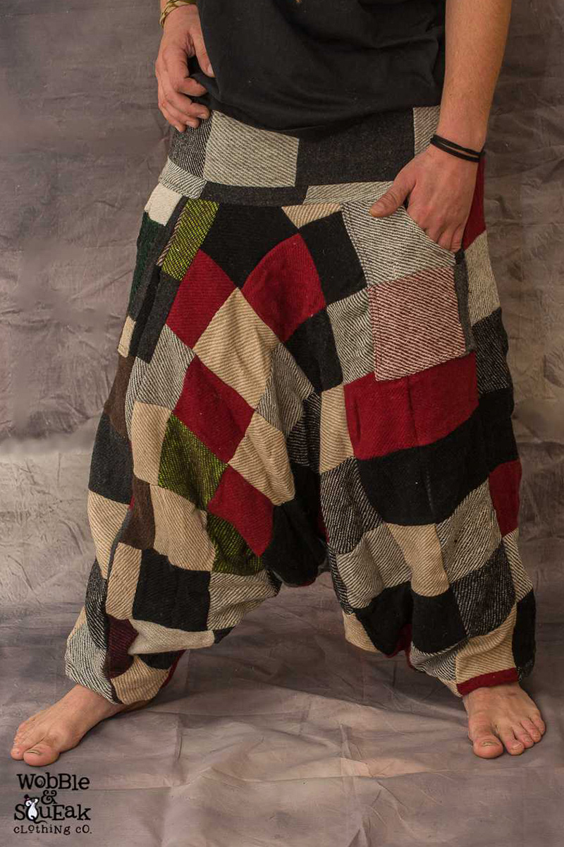 Patch Fleece Lined Harem Pants