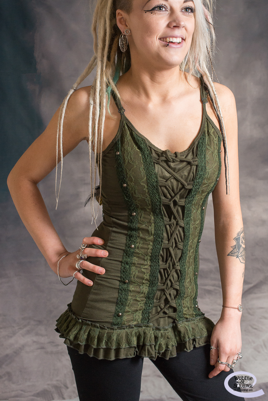 Corset Front Dress Top Green