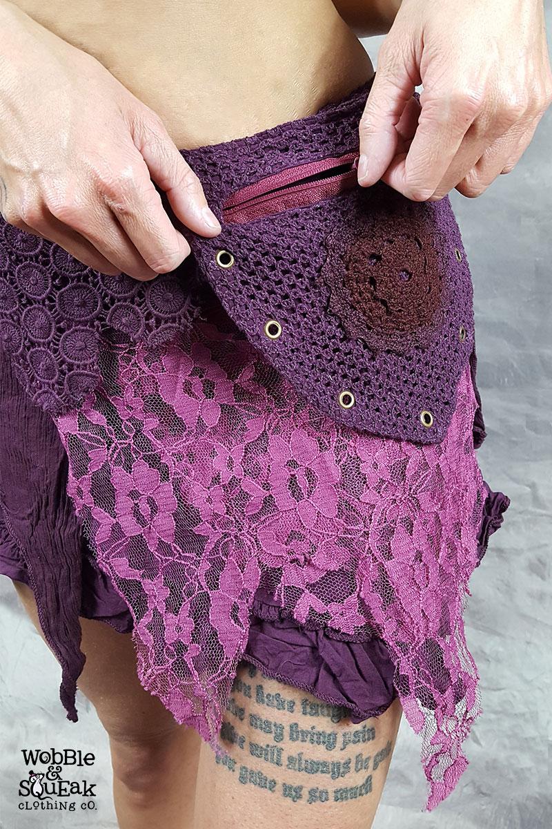 Crepe Skirt Purple Pocket