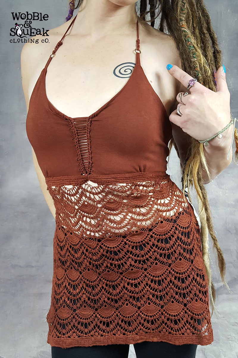 Crochet Bottom Halterneck Brown