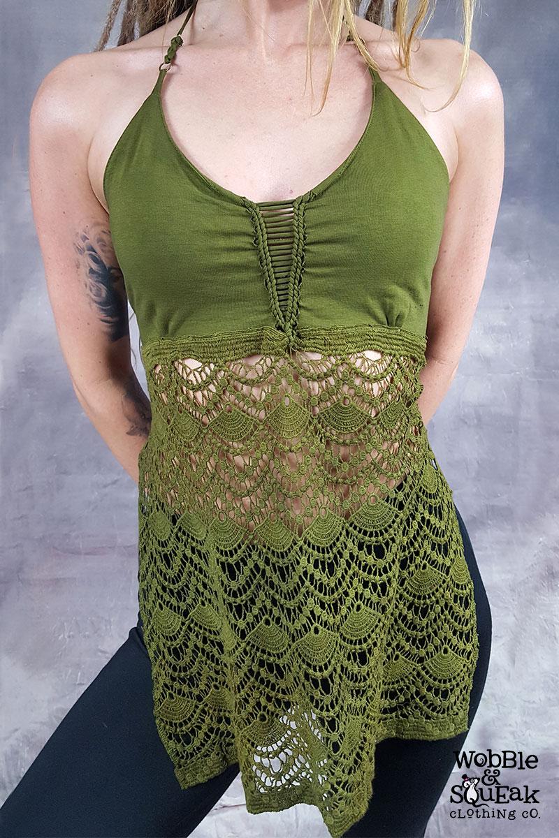 Crochet Bottom Halterneck Green