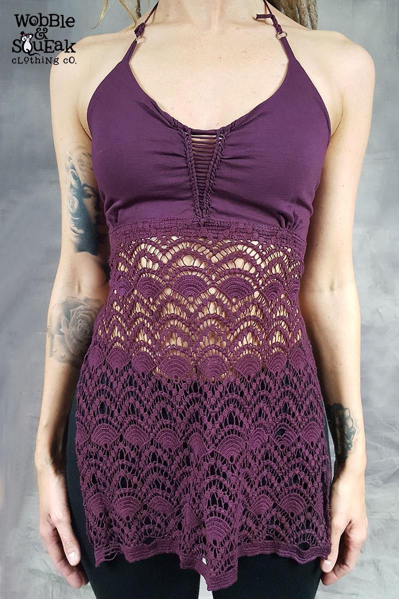 Crochet Bottom Halterneck Purple