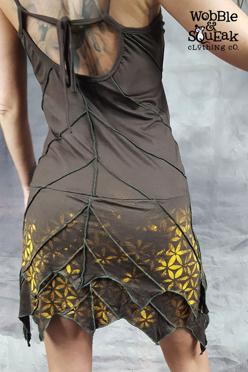 Mandala Leaf Dress Brown