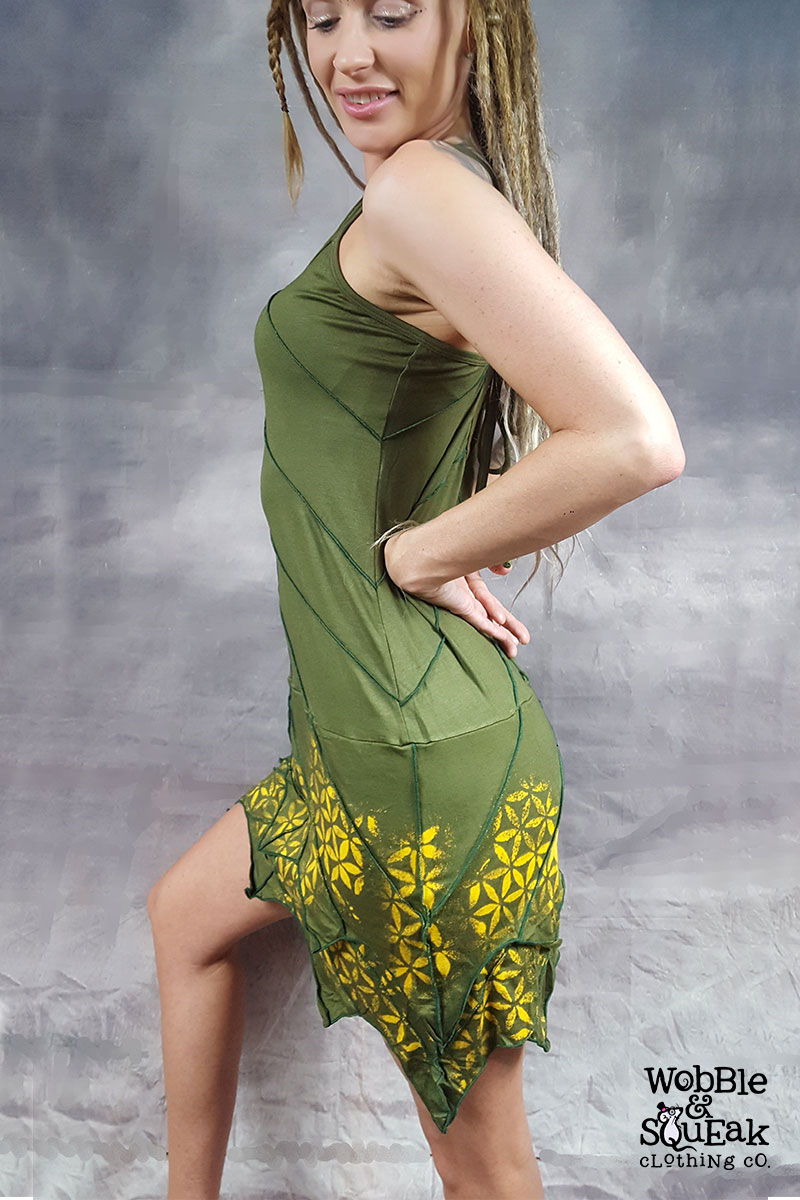 Mandala Leaf Dress Green