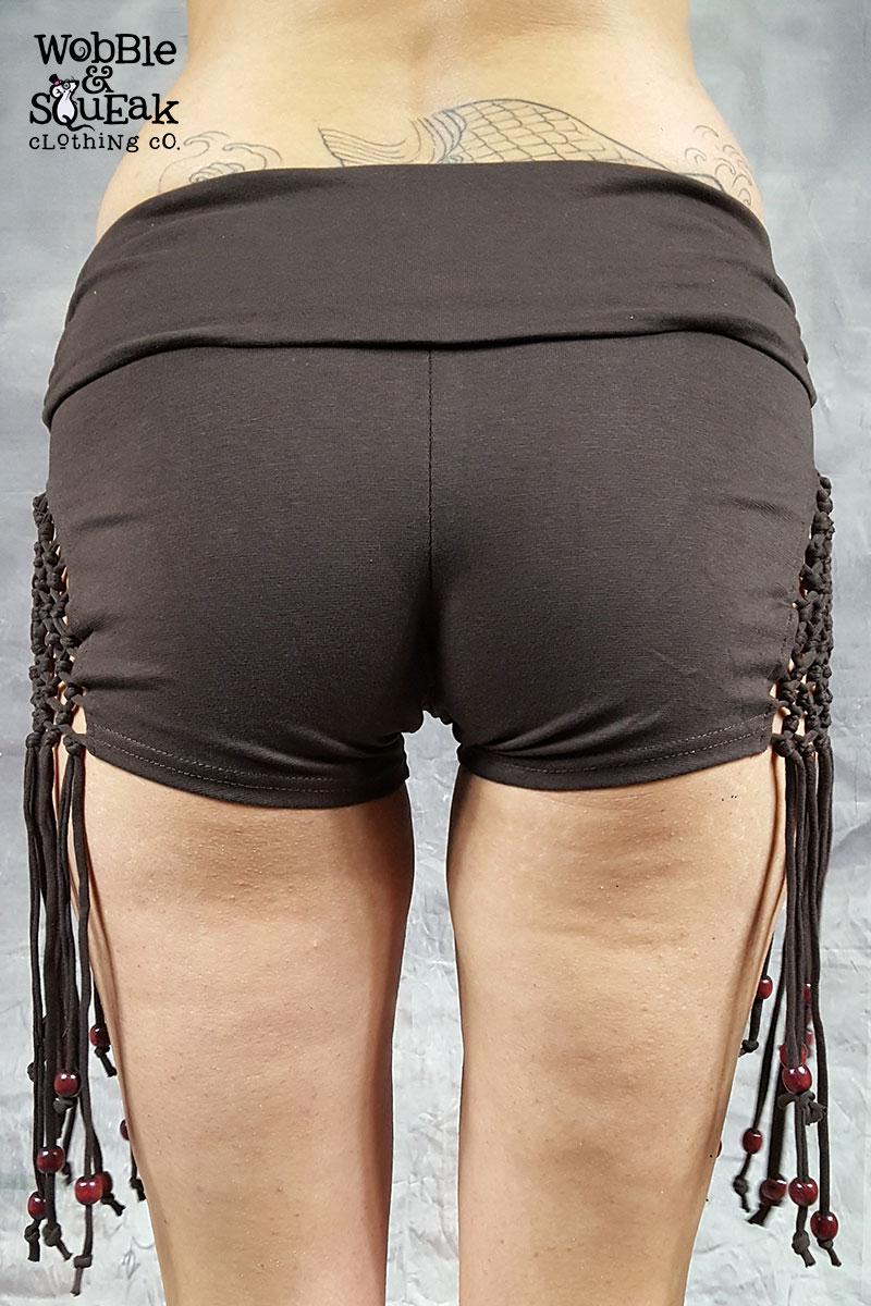 Hippy Tassel Hot Pants Brown