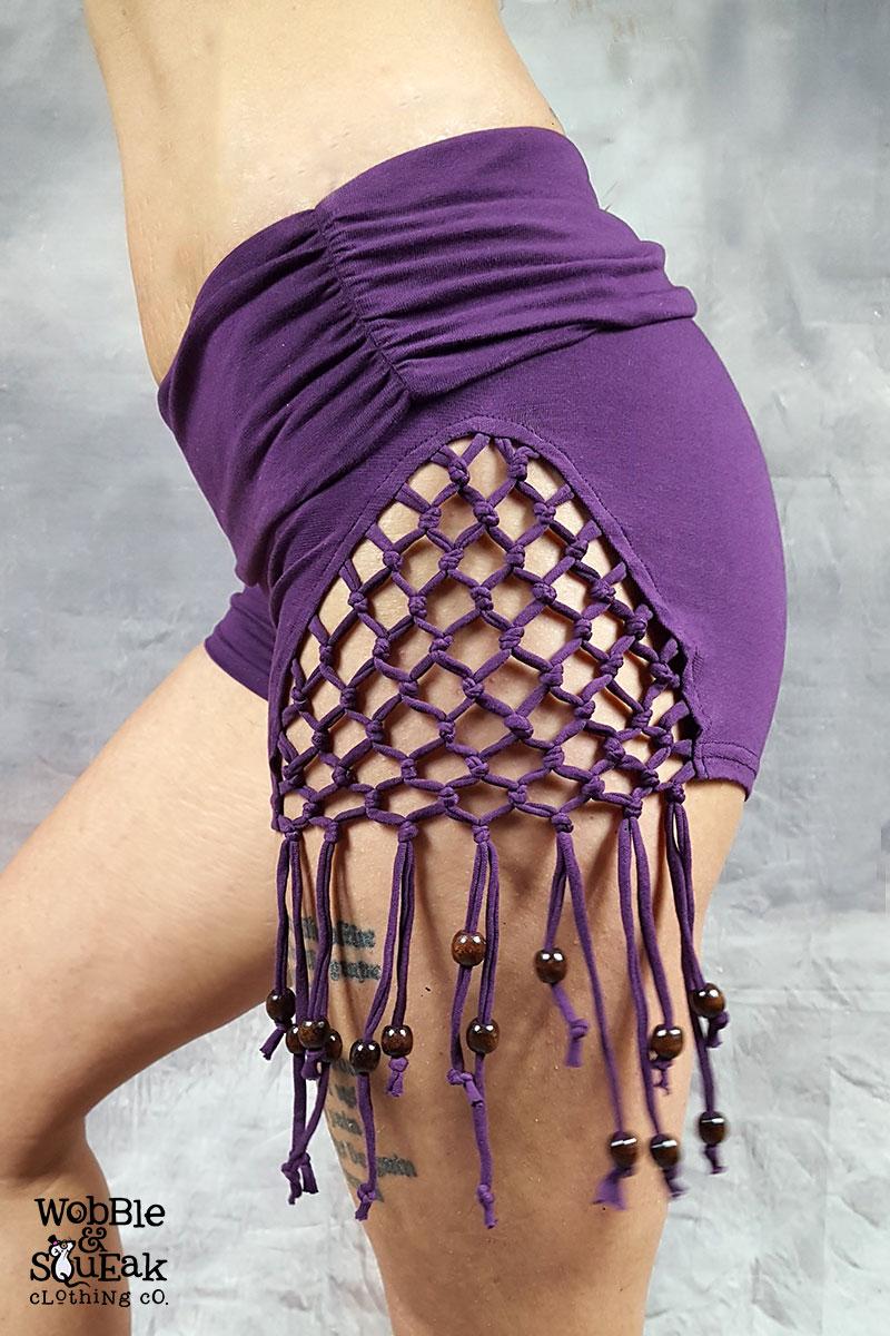 Hippy Tassel Hot Pants Purple