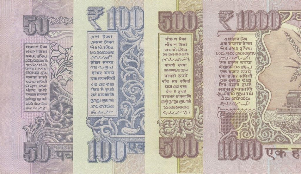 Indian currency with languages