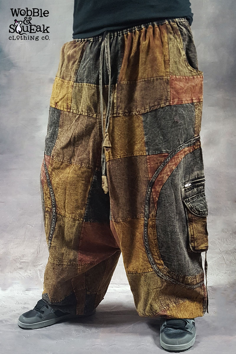 Patchwork Stonewash Harem Brown