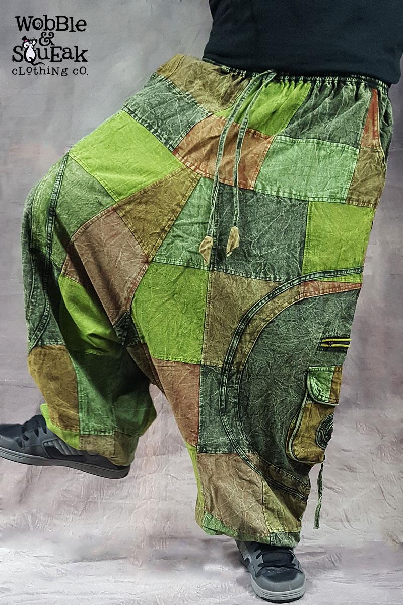 Patchwork Stonewash Harem Green