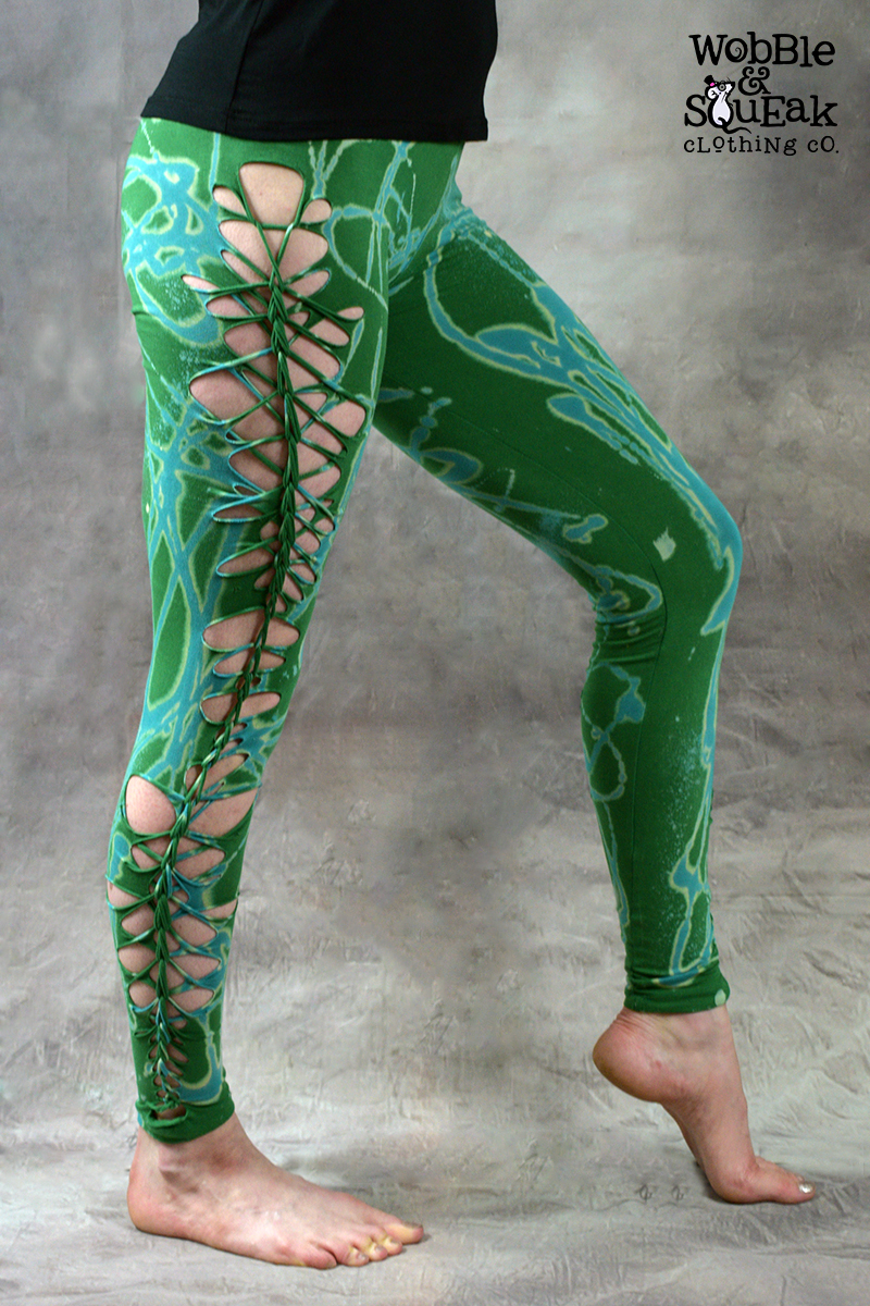 Acid Weave Leggings Grass Green