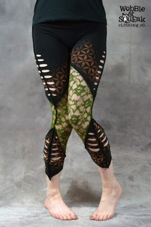 Flower of Life Net Leggings Black