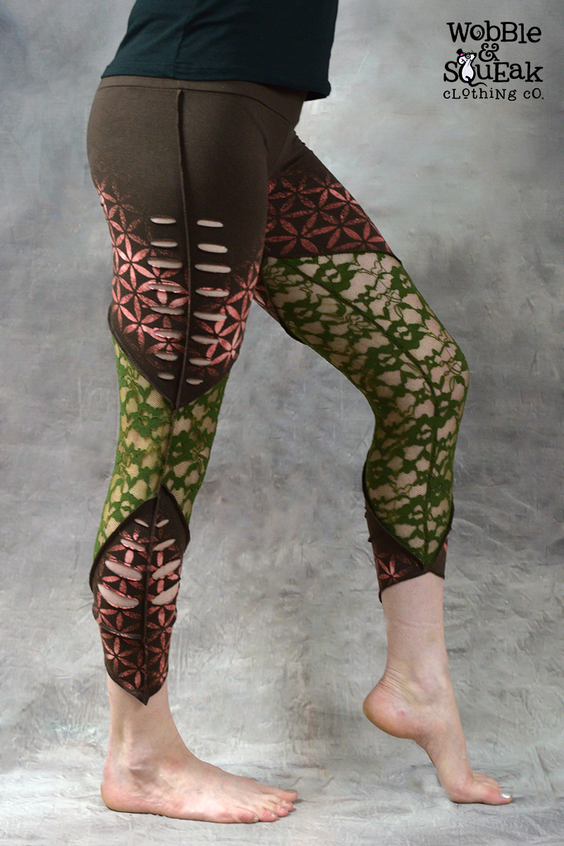 Flower of Life Net Leggings Brown