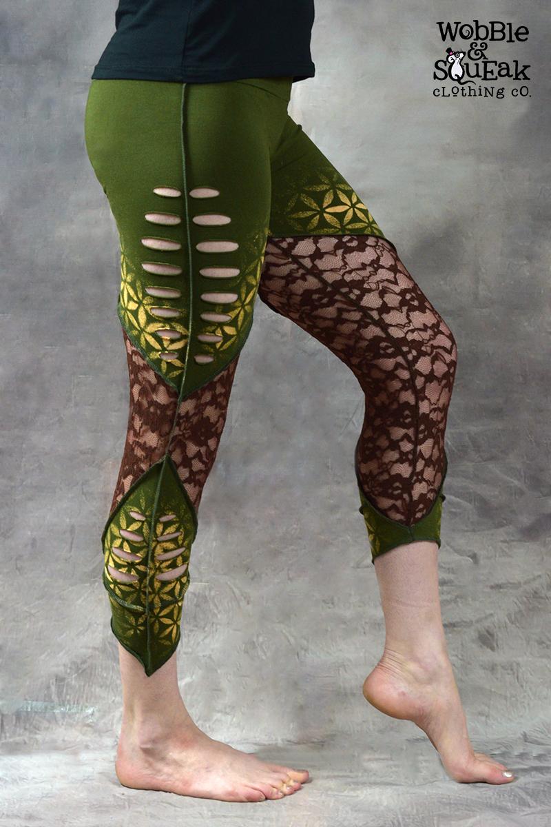 Flower of Life Net Leggings Green