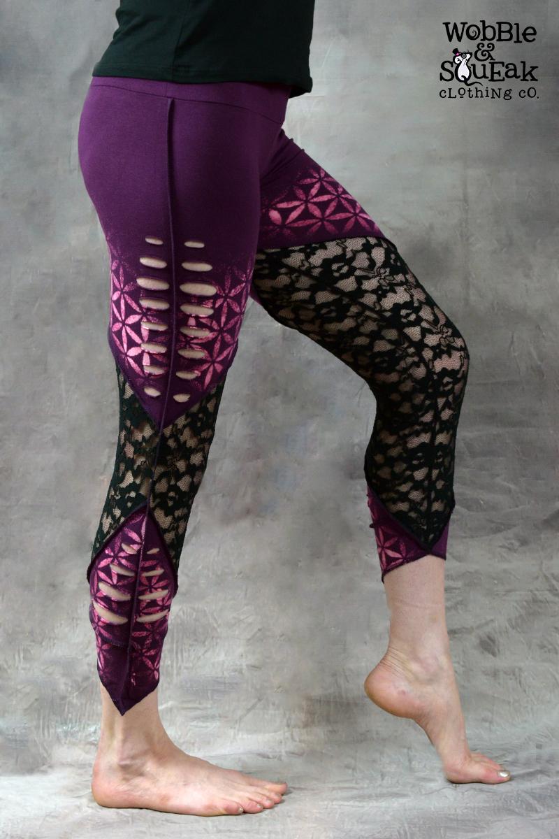 Flower of Life Net Leggings Purple