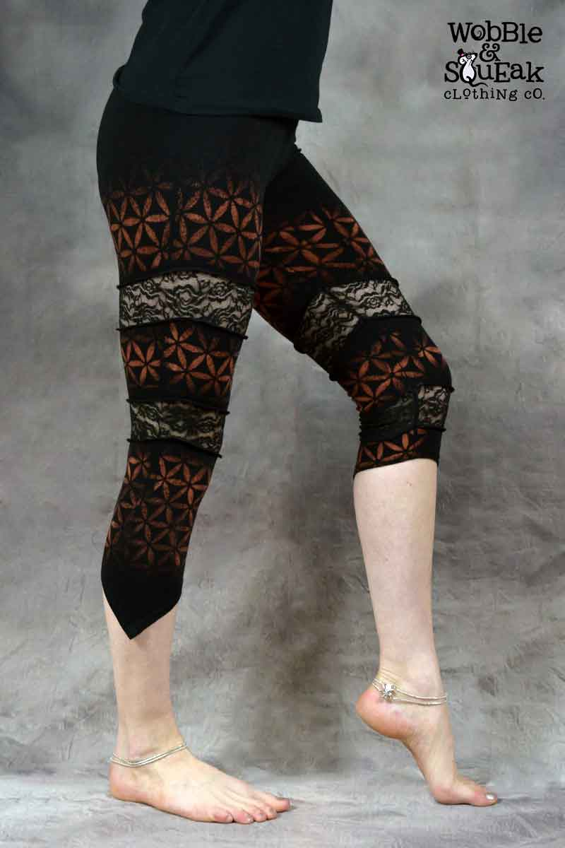 Flower of Life Spin Leggings Black
