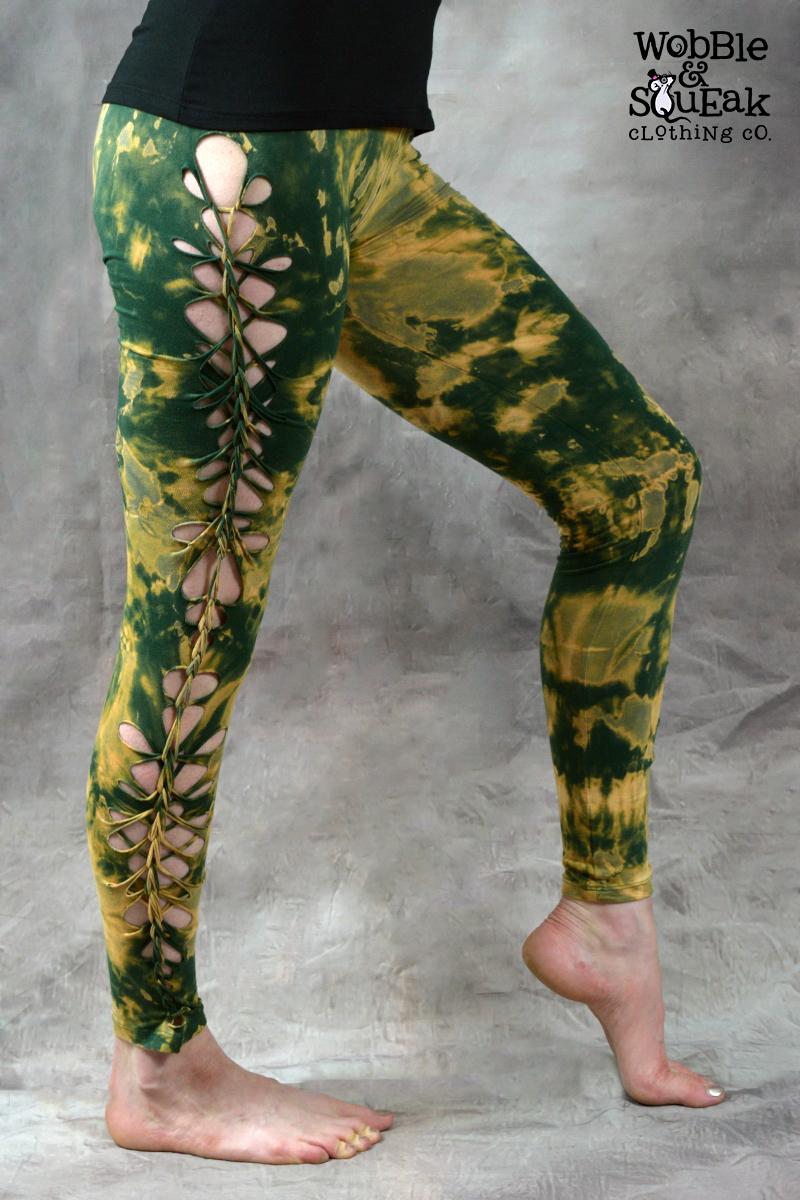 Wobble Tie Dye Leggings Forest Green
