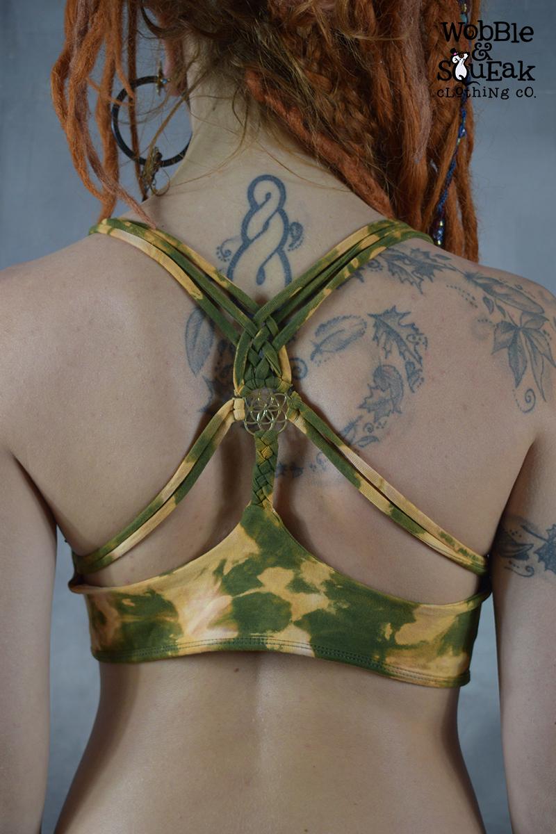 Brass Tie Dye Yoga Bra Army