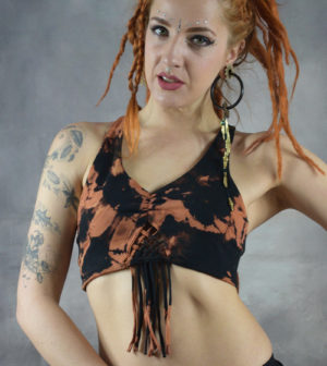 Brass Tie Dye Yoga Bra Black