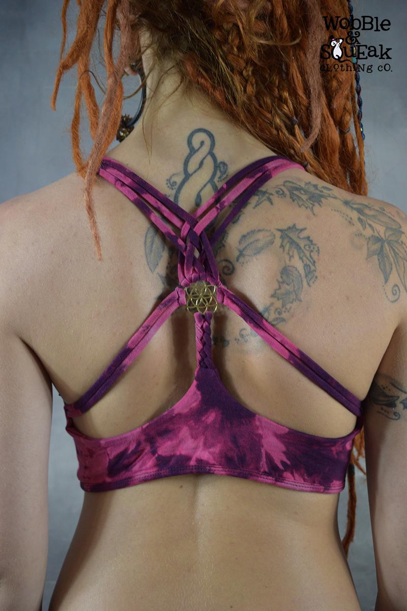 Brass Tie Dye Yoga Bra Purple