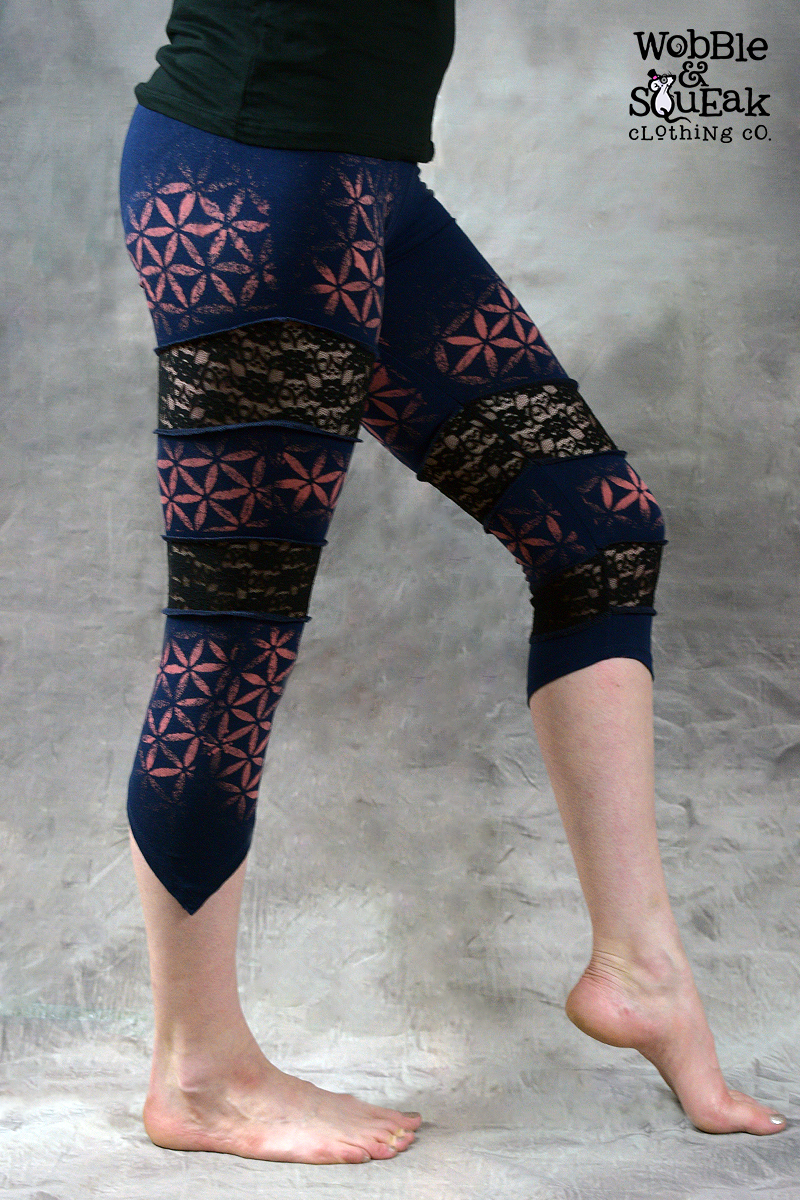 Flower of Life Spin Leggings Navy