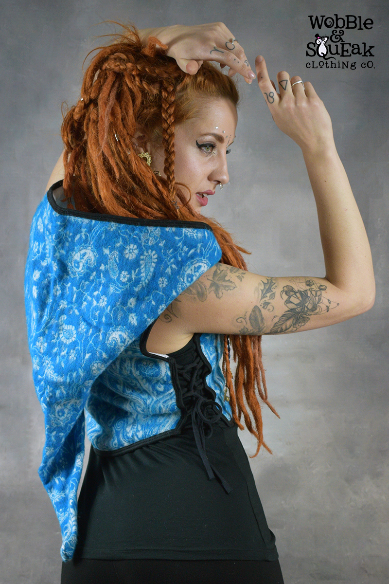 Elfling Waistcoat Blue with White Fleece