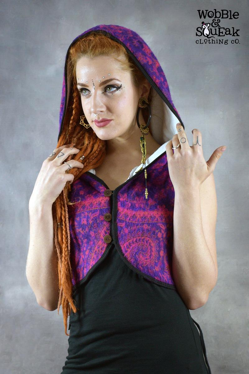 Elfling Waistcoat Purple with White Fleece
