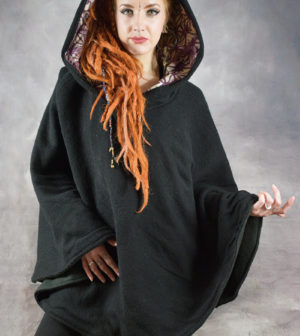 Mandala Fleece Lined Poncho Black
