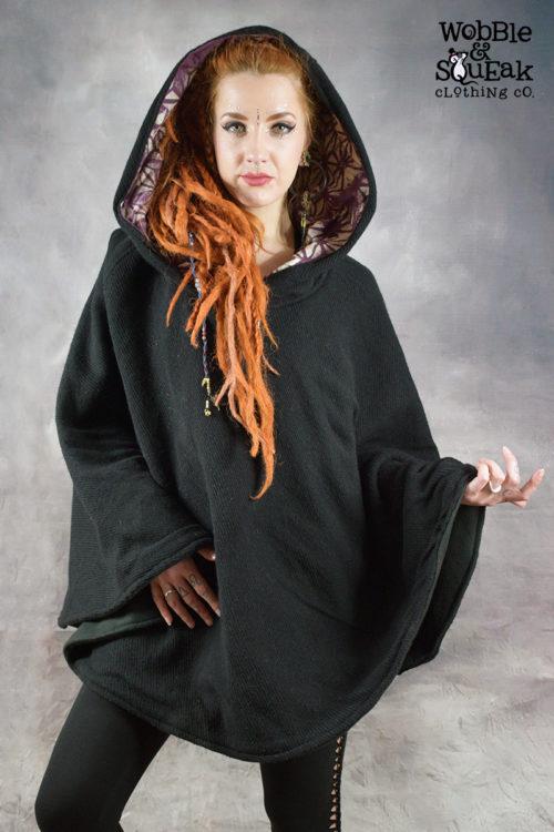 Mandala Fleece Lined Poncho Black