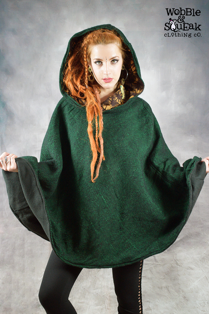 Mandala Fleece Lined Poncho Green