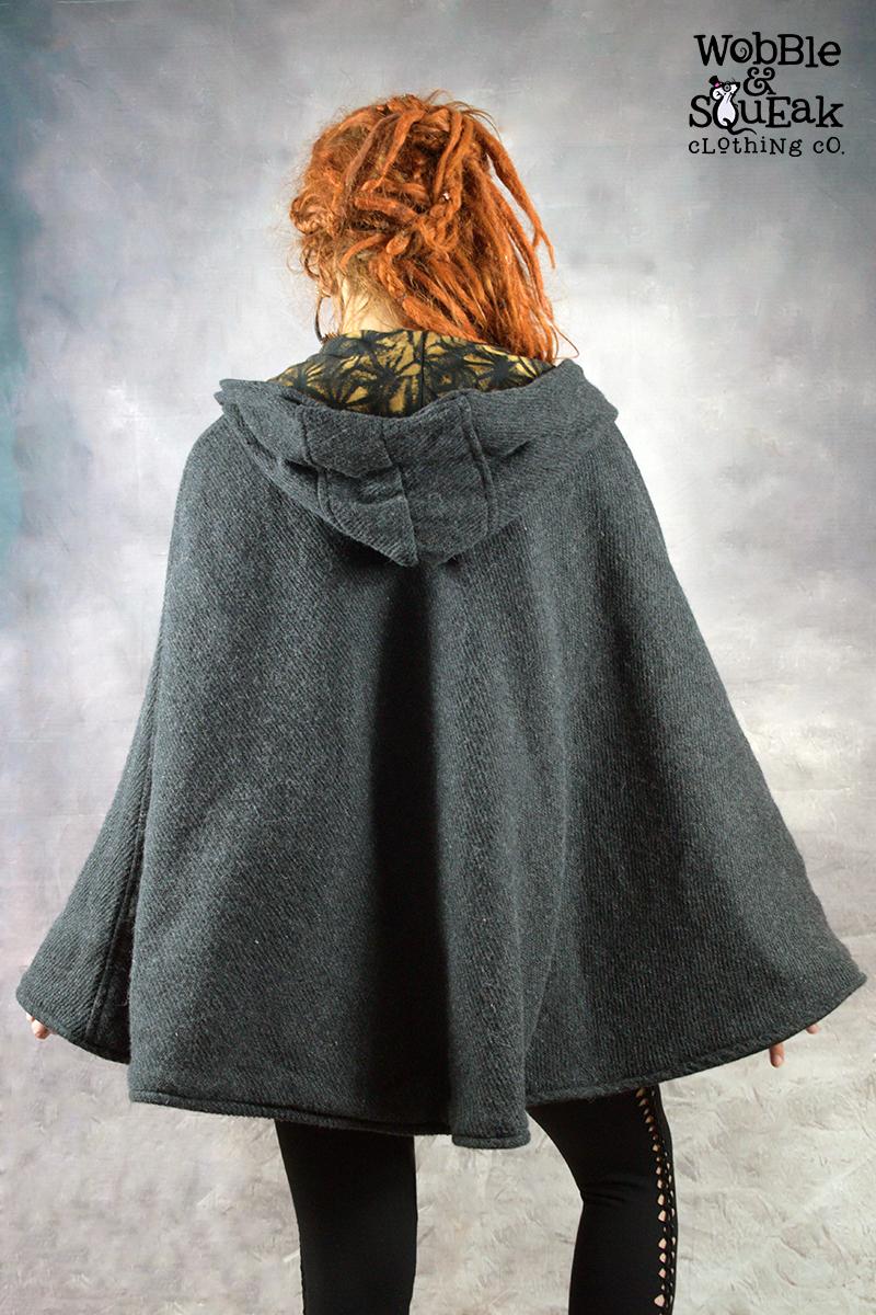 Fleece Lined Jedi Poncho Grey