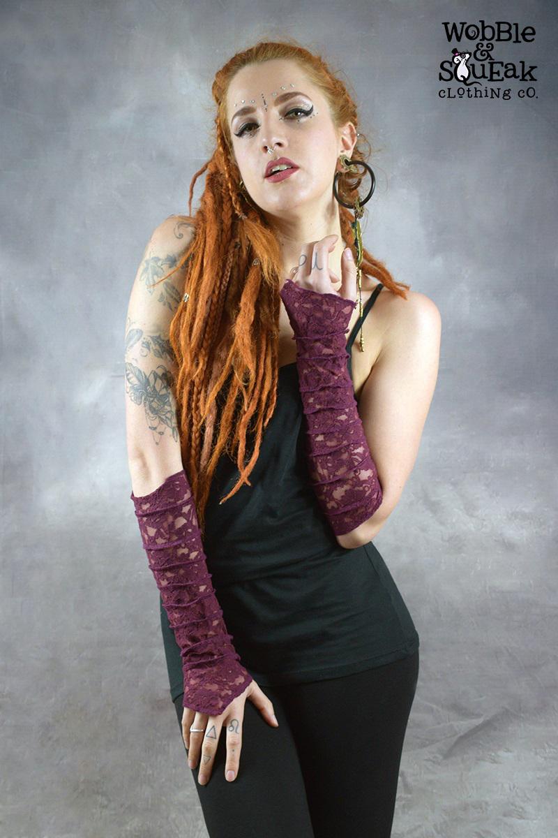 Lace Gloves Purple