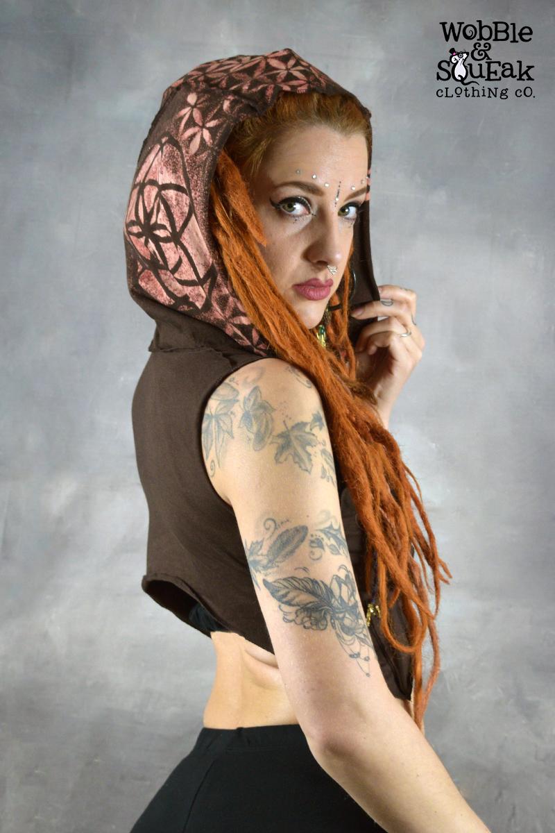 Mandala Hooded Waistcoat Brown