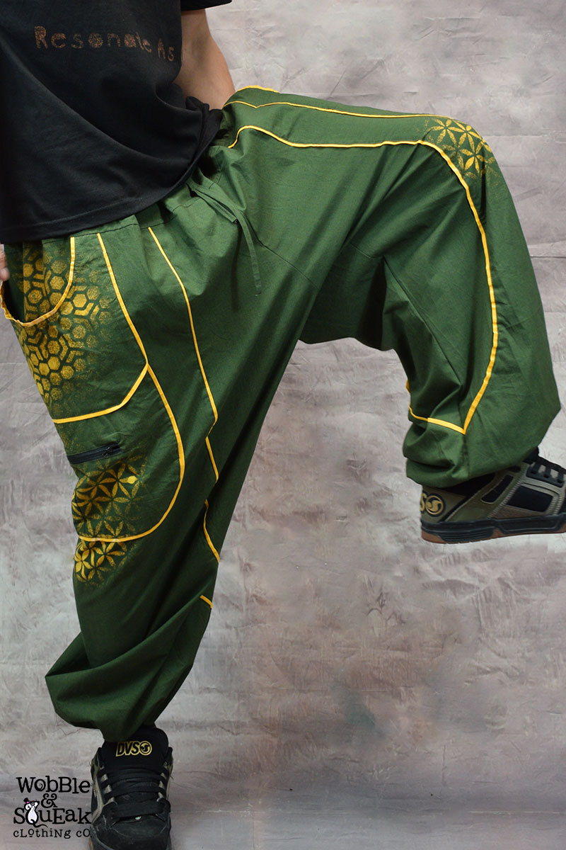 Sacred Geometry Atom Trousers Green