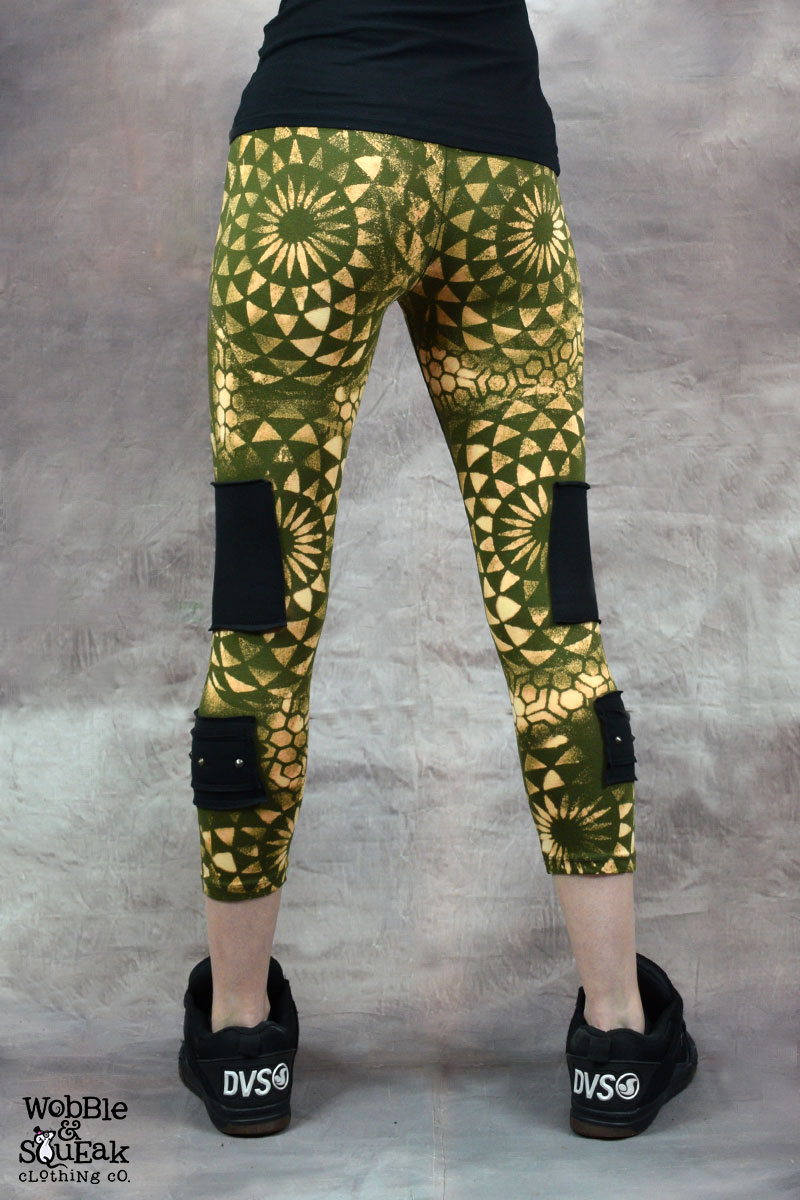 Sacred Geometry Stud Leggings Army