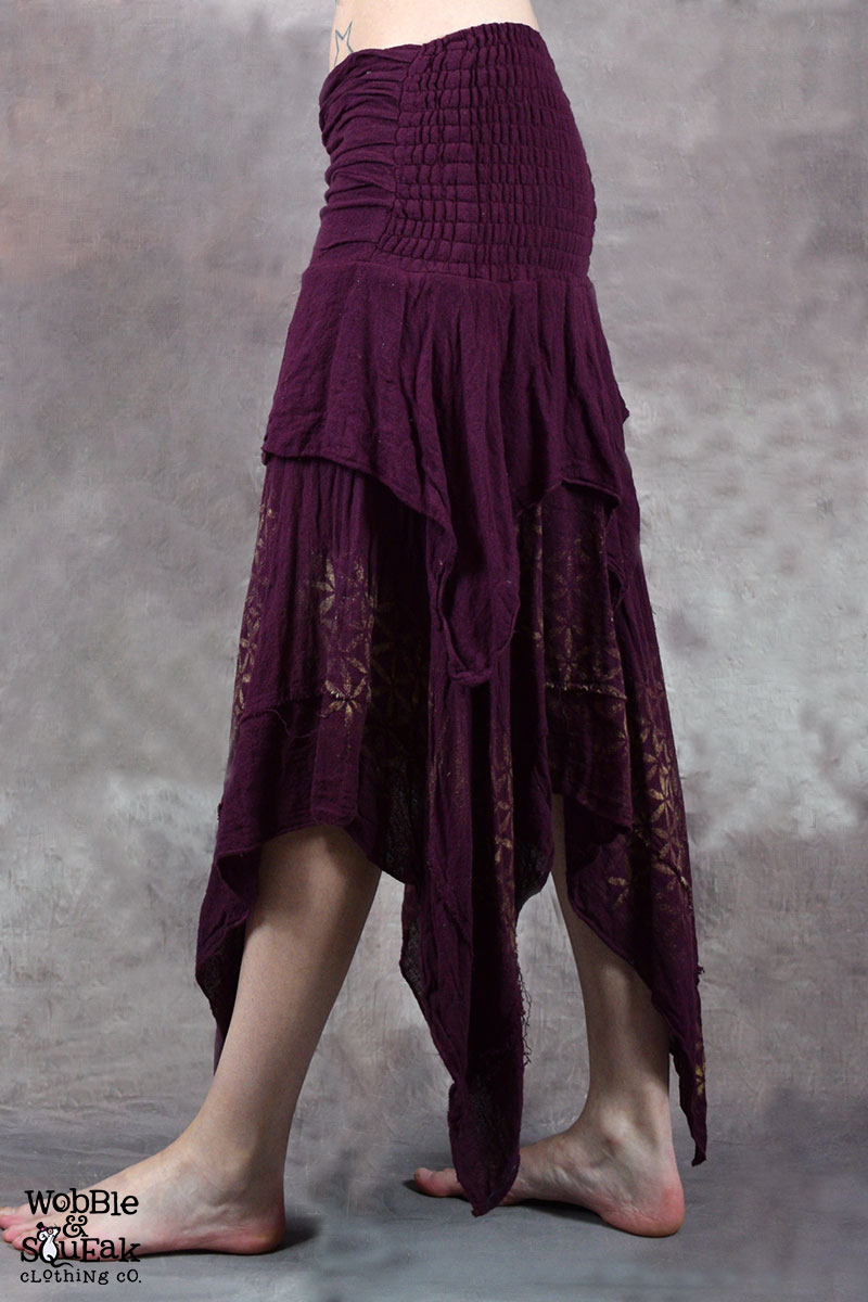 Sacred Geometry Butterfly Skirt Purple