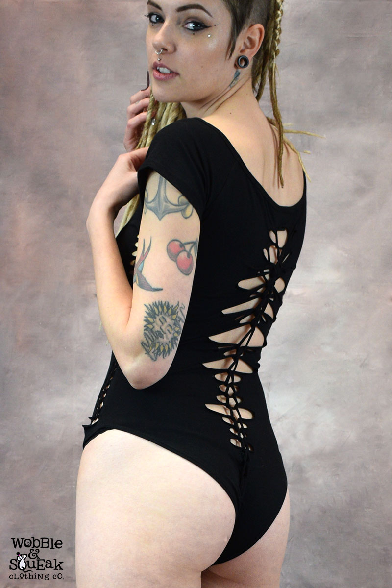 Wobbly Woven Leotard Black
