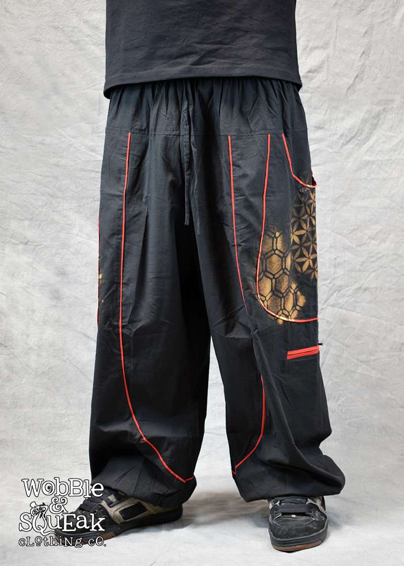 Sacred Geometry Atom Trousers Black and Red