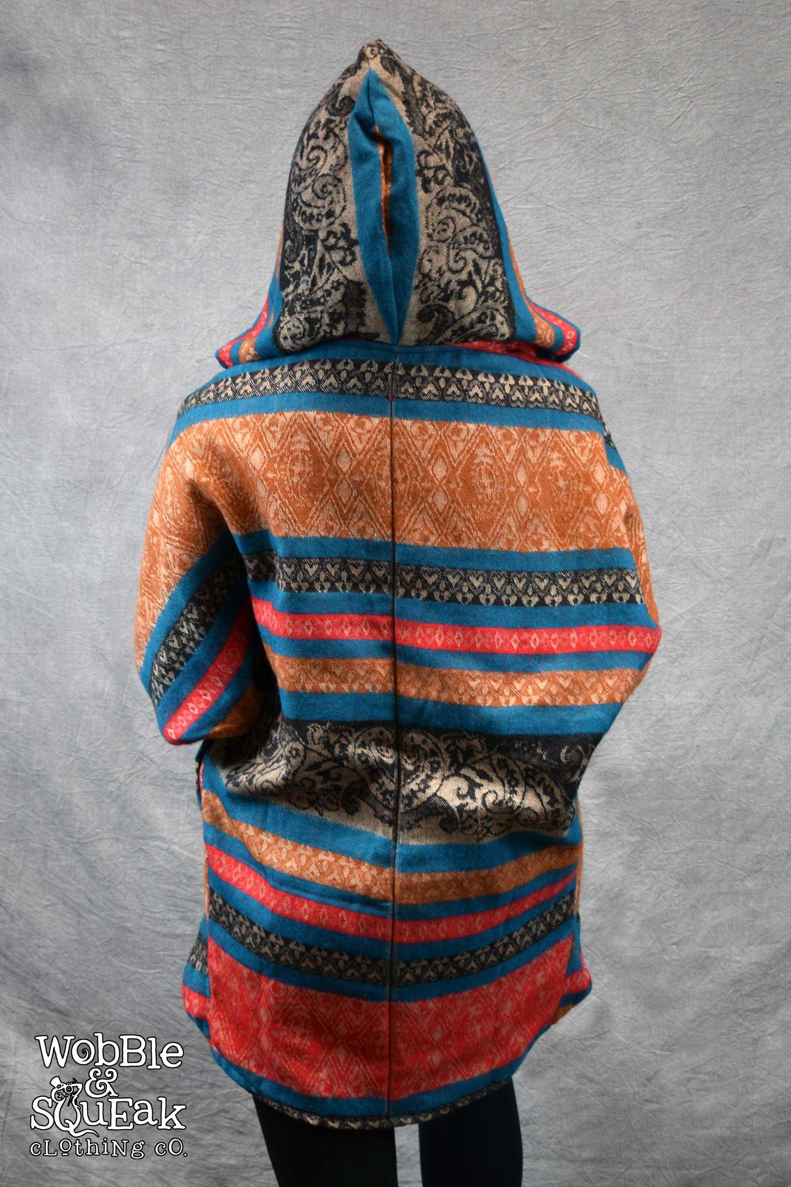 Himachal Hooded Cardigan Blue with Orange
