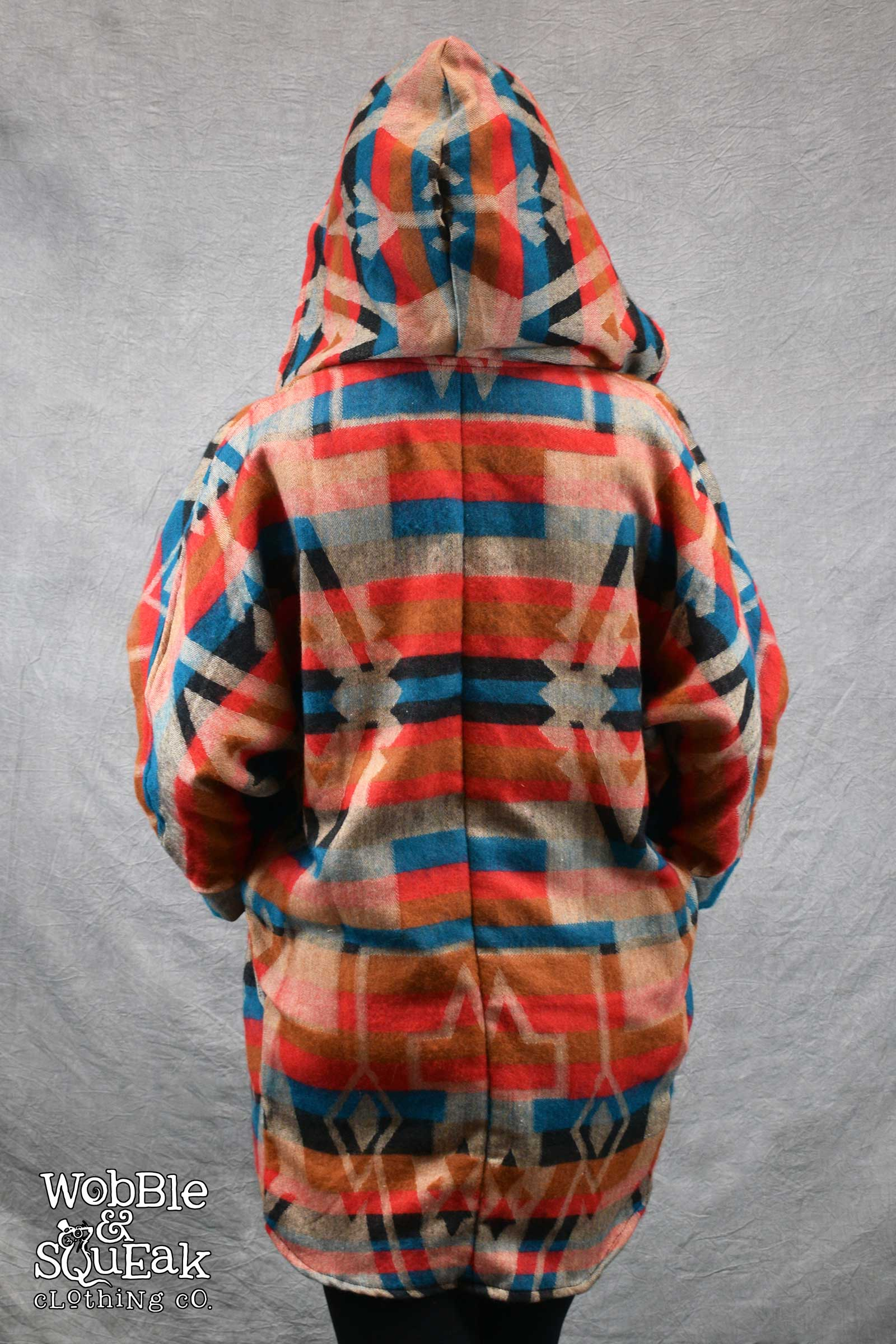 Himachal Hooded Cardigan Red with Orange