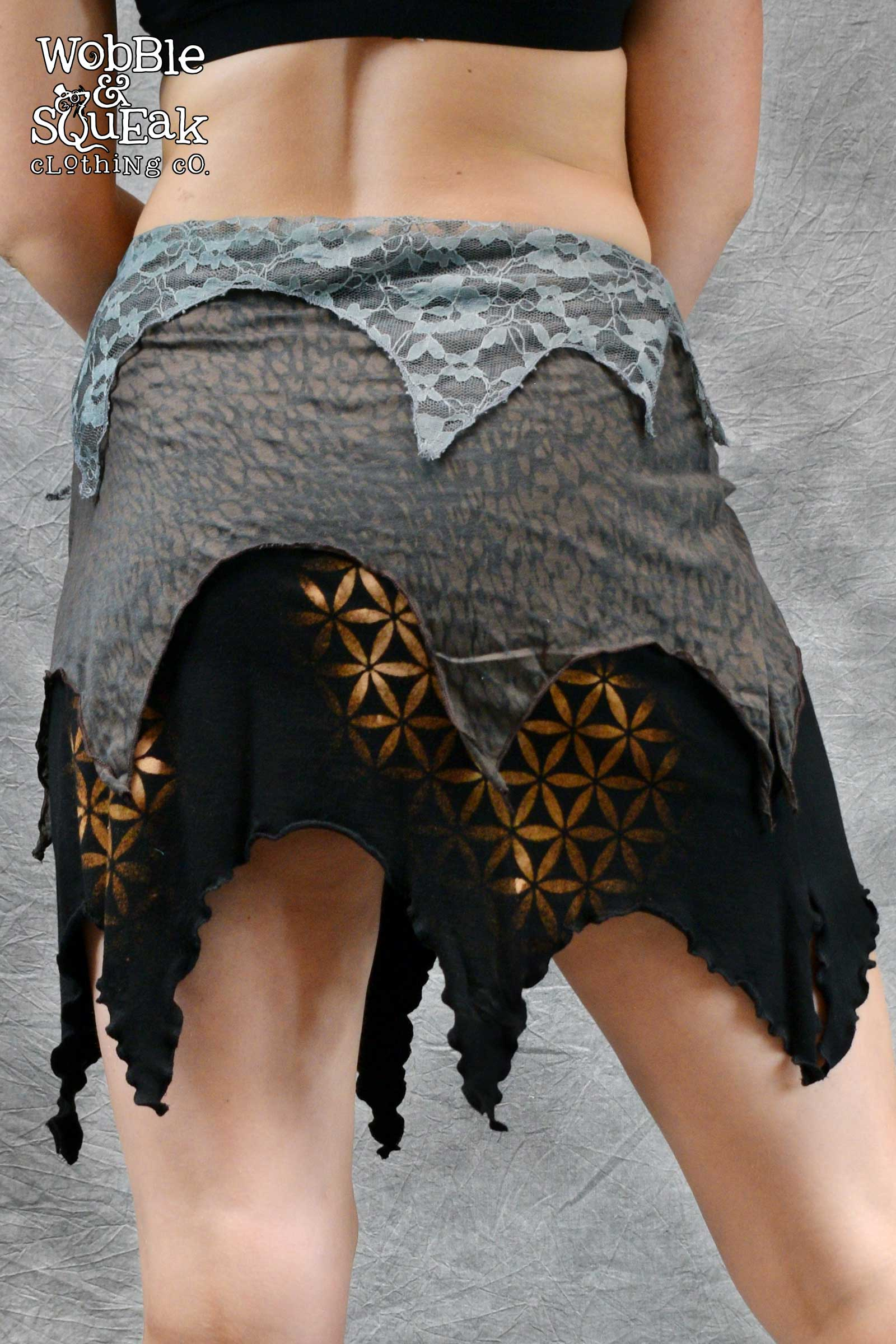 Layered Flower Skirt Grey