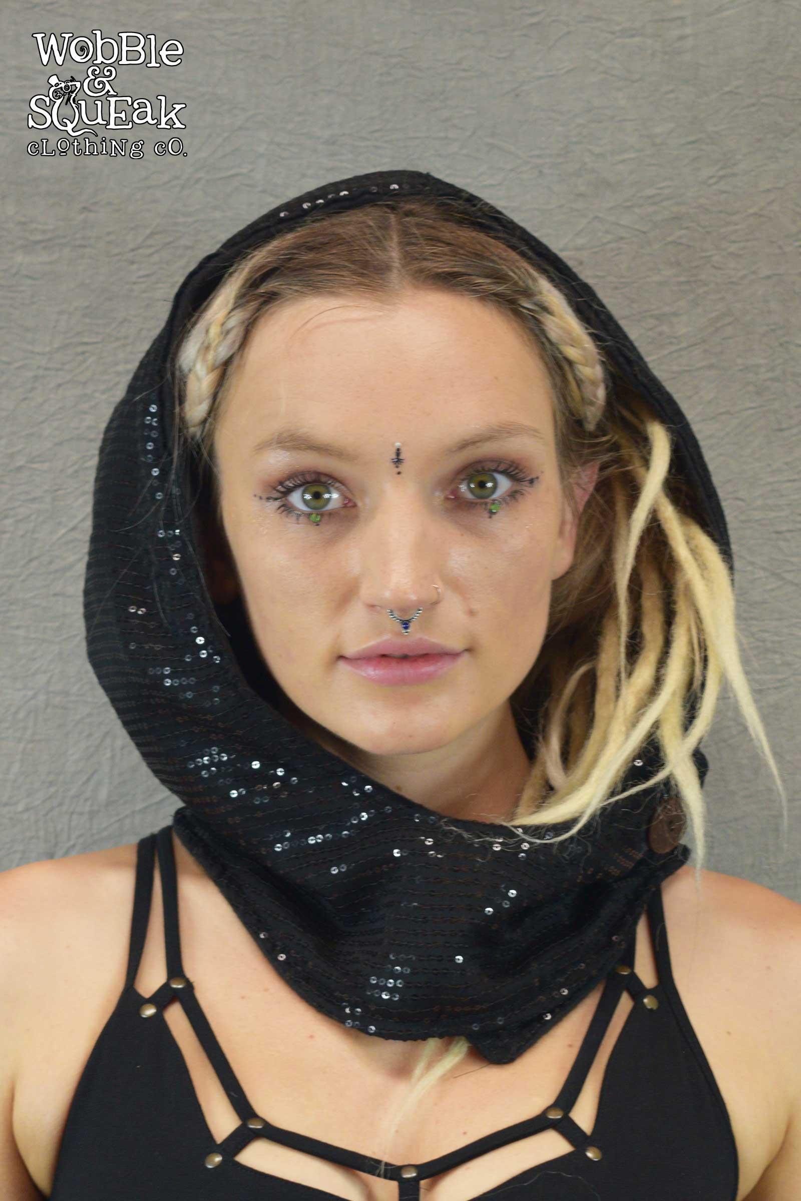 Sequin Festival Hood Black