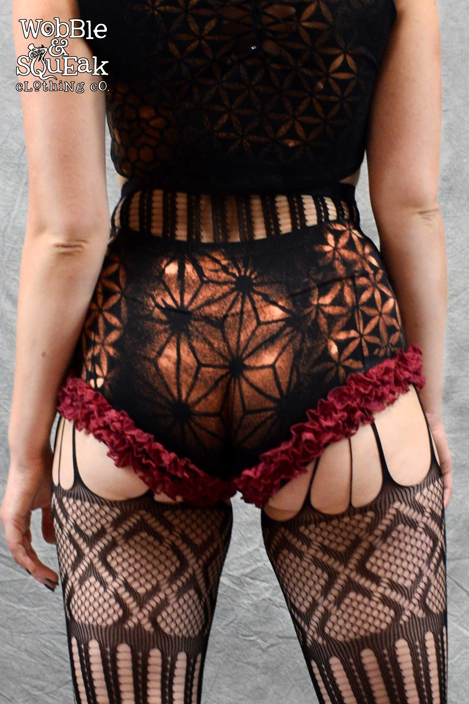 Circus Lace Hot Pants Red