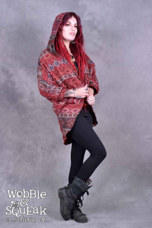 Himachal Hooded Cardigan Red