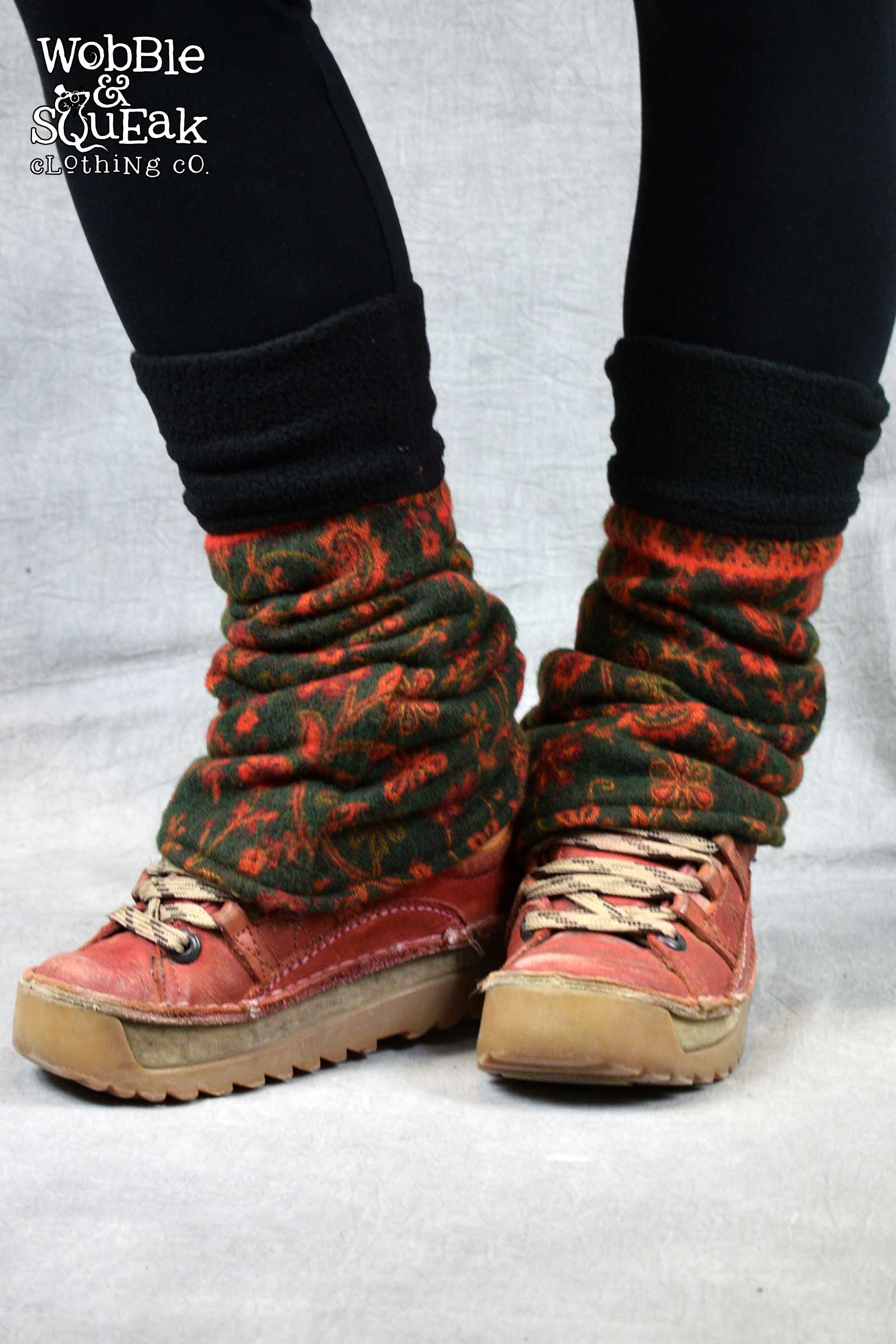 Legwarmers Green with Red